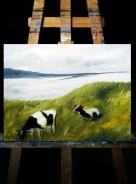 Пейзаж с коровами (х/м, 45х35 см)